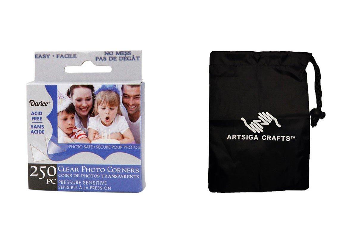 Darice Papercraft Photo Corner Mount Clear 250 Pieces (12 Pack) LK 01BH Bundle with 1 Artsiga Crafts Small Bag