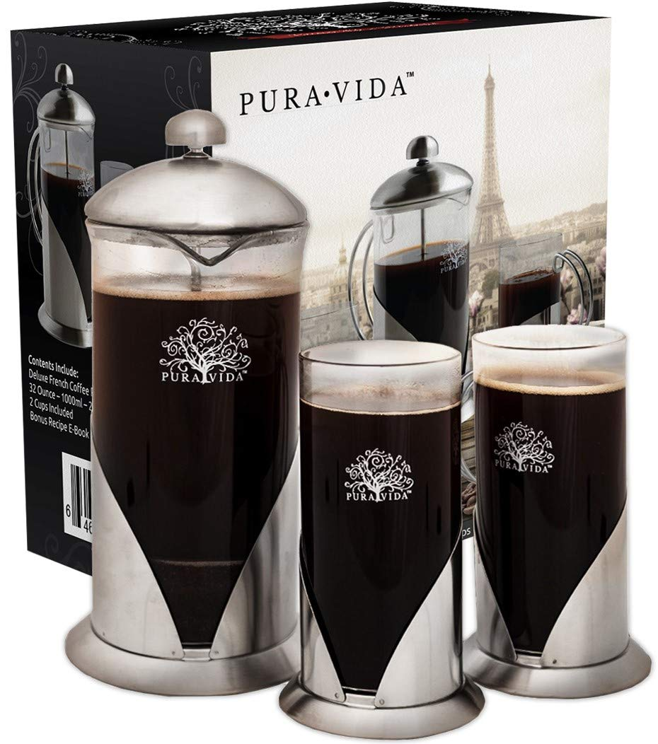 Pura Vida French Press Coffee Maker Set, 34 oz - 4 Level Filtration System - 2 Luxury Mugs - Heat Resistant Borosilicate Glass French Press with Durable 304 Grade Stainless Steel - Tea Maker, 8 Cup by Pura Vida