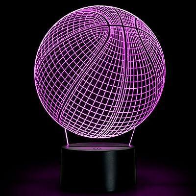 Amazon.com: Baloncesto Ilusión 3d lámpara Noche LED Lámpara ...