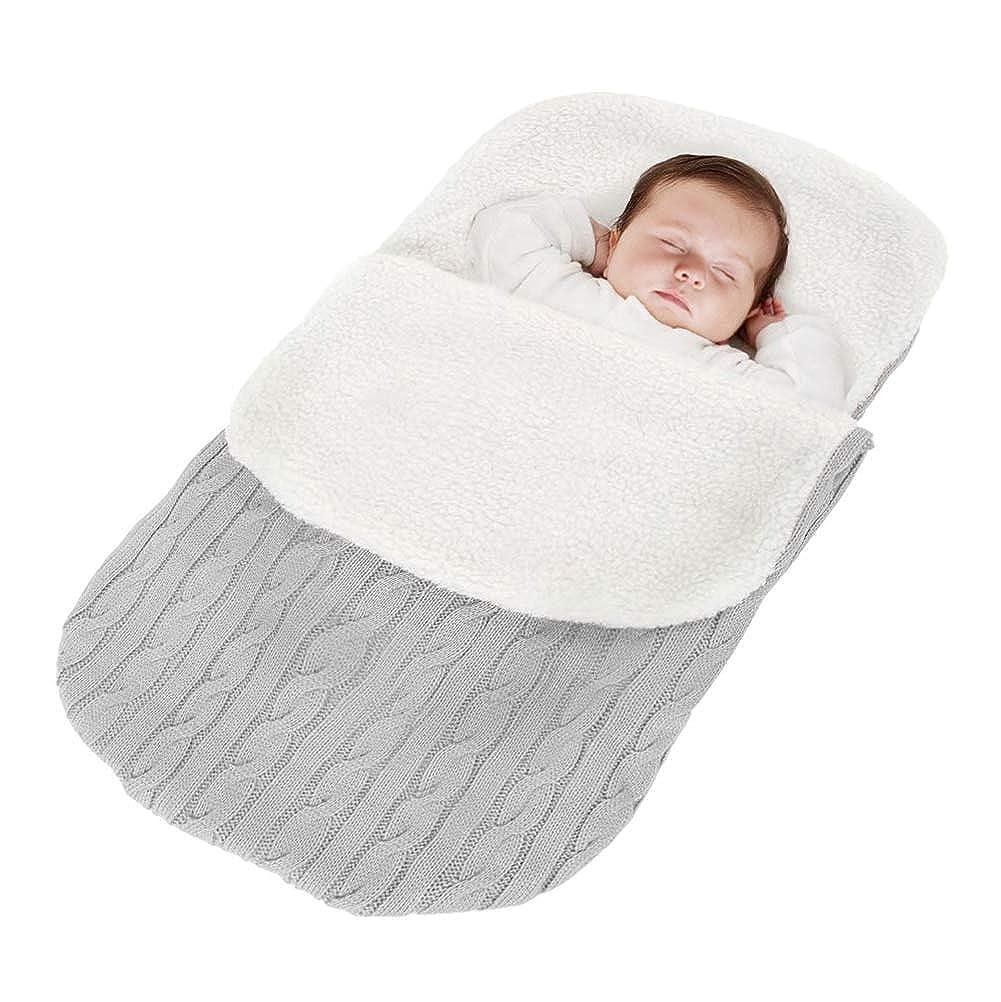 Minetom Saco de Dormir de Punto Felpa para Bebé Recién Nacido de 0 – 24 Meses para Cochecito Footmuff Invierno Caliente Cómodo Asiento de Bebé JD181101W-SS-DE07-blu