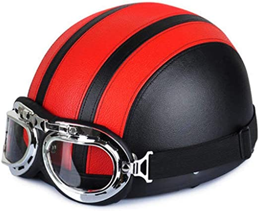 Creamon Casco de Motocicleta Unisex Hombres Mujeres Cara Abierta Gafas de protecci/ón de Media Visera Casco de Seguridad Rojo