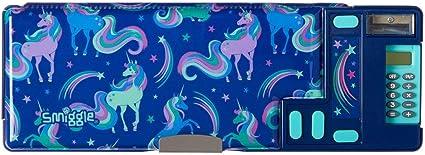 Con dibujos de unicornios Smiggle Good Vibes estuche portal/ápices desplegable para ni/ñas y ni/ños con calculadora y sacapuntas