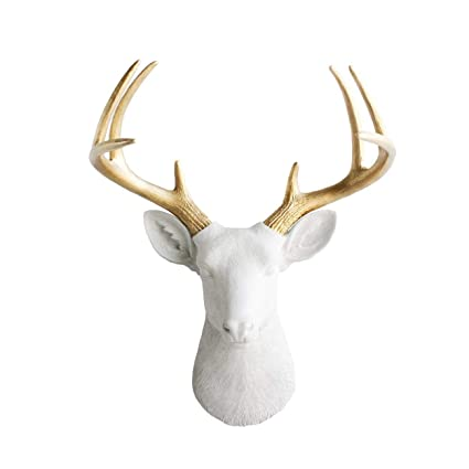 Wall Charmers Large White + Gold Antler Faux Deer Head - 21