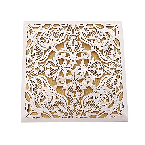 Invitations Printable Religious (Invitation Cards with Envelopes Laser Cut Flora Lace for wedding invitations, Bridal Shower, Engagement, Birthday, Bachelorette Party, Baby Shower(10 PCS) (10 piece, Gold-Flora Lace))