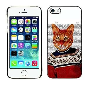 PC/Aluminum Funda Carcasa protectora para Apple Iphone 5 / 5S Cat Art Orange Ginger Garfield Yellow / JUSTGO PHONE PROTECTOR