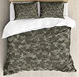 Twin Size Camouflage 3 PCS Duvet Cover Set, Monochrome Attire Pattern Concealing Hiding in The Woods Themed Print, Bedding Set Quilt Bedspread for Children/Teens/Adults/Kids, Army Green Sage Green