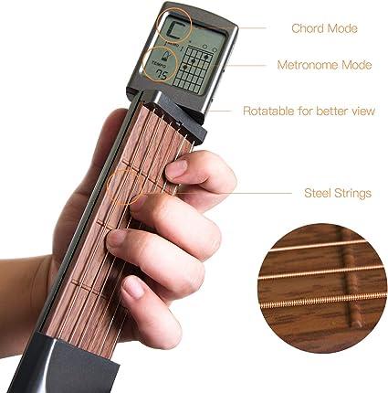 Guitarra digital de bolsillo para entrenamiento, herramienta de práctica para principiantes/portátil con pantalla de tabla de acordes giratoria.: Amazon.es: Instrumentos musicales