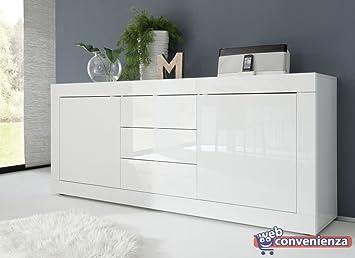 Credenza Moderna 4 Ante Basic : Basic madia contenitore ante cassetti bianco laccato lucido
