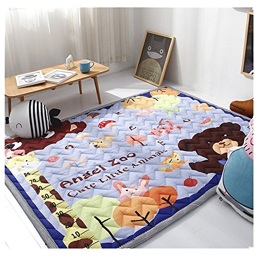 Ustide Angle Zoo Baby Kid Toddler Play Crawl Mat Carpet Playmat Cotton Blanket Rug for In/Out Doors,4.8-6.4 Feet