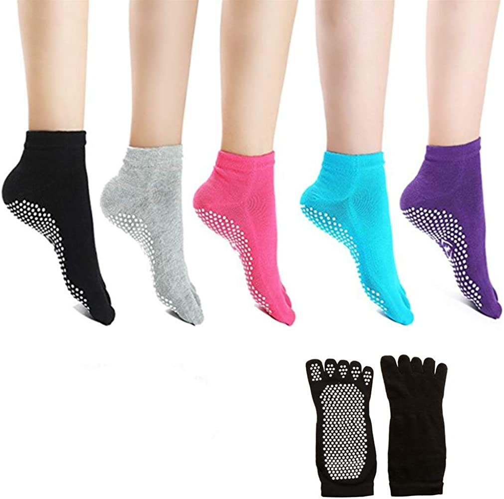 Amazon.com: Calcetines para yoga, pilates antideslizantes de ...