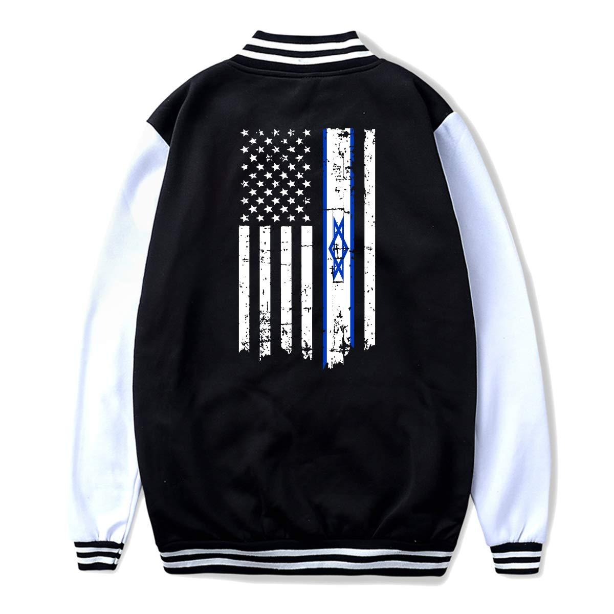 Back Print NJKM5MJ Unisex Teen Baseball Uniform Jacket Israel American Thin Line Flag Hoodie Coat Sweater Sweatshirt