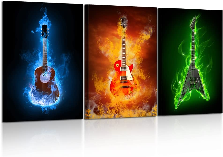 Kreative Arts - 3 Pieces Canvas Prints Fire Burning Eletric Guitar Wall Art Painting Modern Musical Instruments Poster Framed for Living Room Decoration Ready to Hang 16x24inchx3pcs