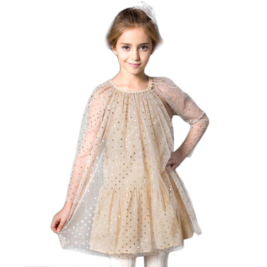 LUQUAN Dress American Girl Temperament Mesh Princess Summer Dress 120,Beige
