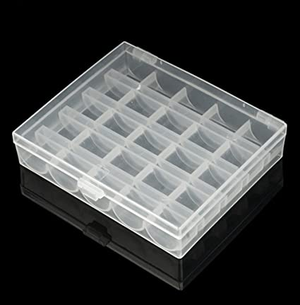 25 Spools Empty Bobbins Sewing Machine Bobbin Case Storage Organizer Box S2S3
