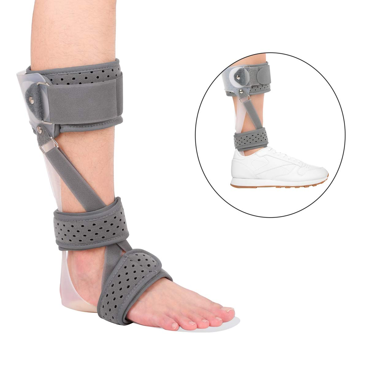 Foot Drop Splint, 3 in 1 AFO Ankle Orthosis Foot Drop Brace Orthopedic Shoe Foot Postural Correction Brace Splint Leaf Stroke Hemiplegia Rehabilitation (Large, Right) by Furlove