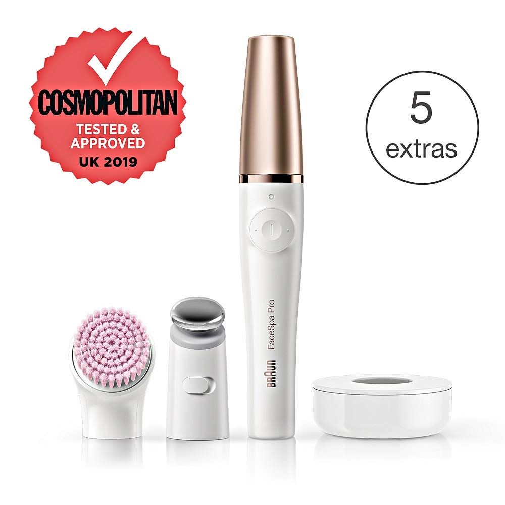 Braun FaceSpa Pro 912 Facial Epilator 3-in-1 Facial Epilating, Cleansing and Skin Toning System for Salon Beauty at Home with 3 Extras, Rechargeable, Cordless Use, White/Bronze