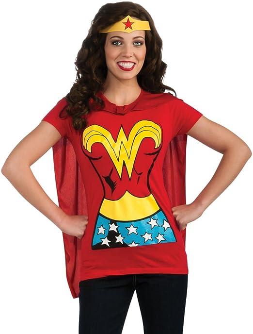 Wonder Woman T-camiseta de manga corta para mujer disfraz de capa kit- camiseta de manga corta diseño de corona para mayores de diseño de martillo de Thor: Amazon.es: Ropa y accesorios
