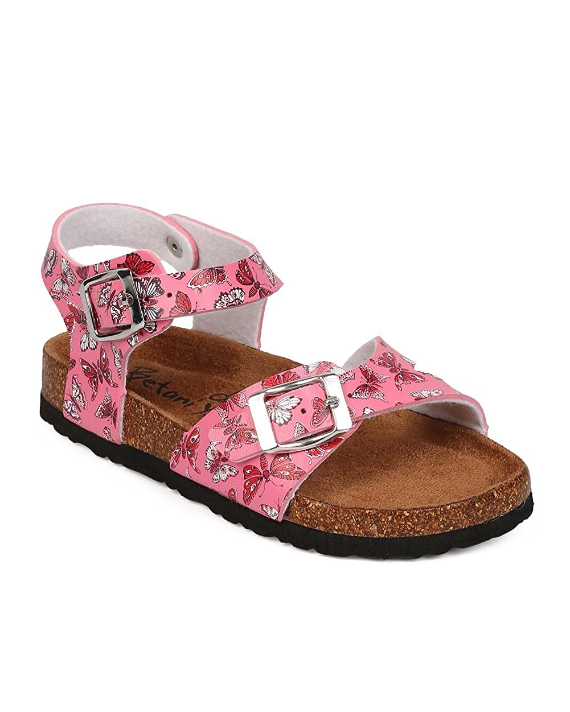 Little Girl//Big Girl Pink EG31 Leatherette Floral Open Toe Ankle Strap Buckle Footbed Sandal