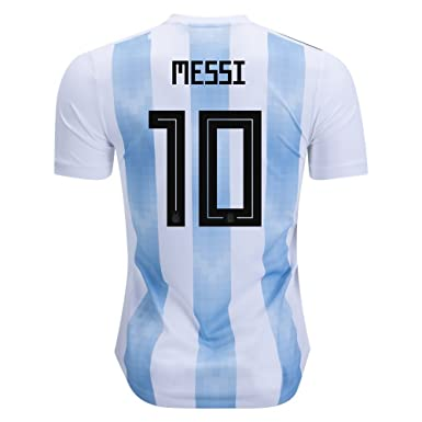 4121e1547 Image Unavailable. Image not available for. Color  2018 Russia World Cup   10 Messi Argentina National Team Home Mens Soccer Jersey ...