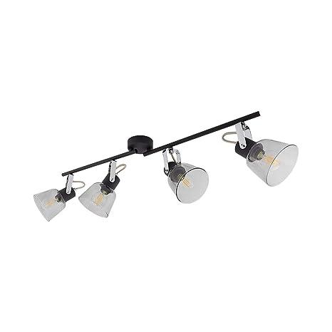 Lámpara de Techo Orientable Tivo 4 Focos Negro Negro: Amazon ...