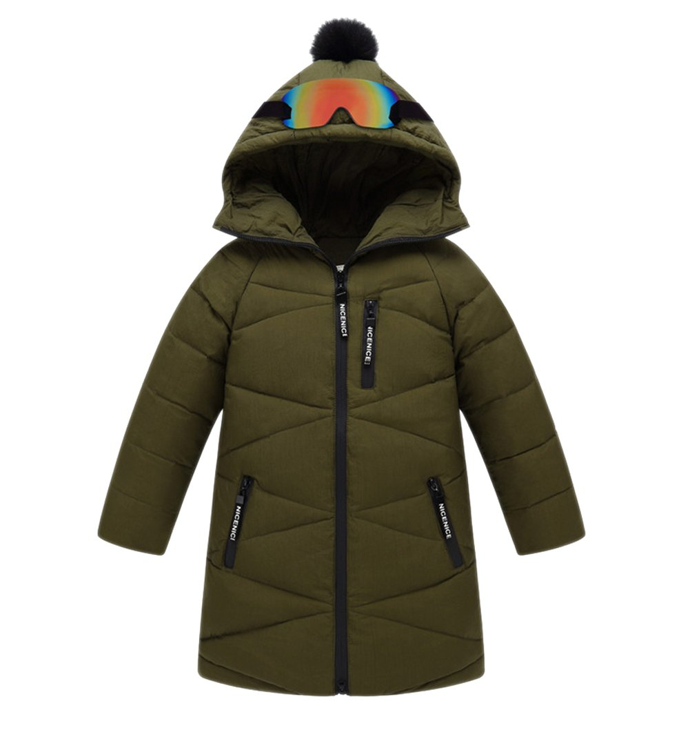 Tortor 1Bacha Kid Boy Girl Glasses Pom Pom Hooded Winter Down Coat Long Jacket Green 11-12