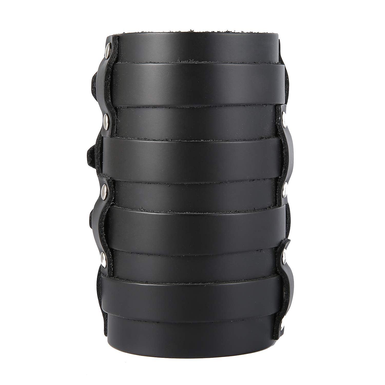(エイチゼットマン) HZMAN 革製カフラップ 幅広三重ストラップ ガントレット リストバンド バックル留め アームアーマーカフ メンズ 黒 - 4 Rows