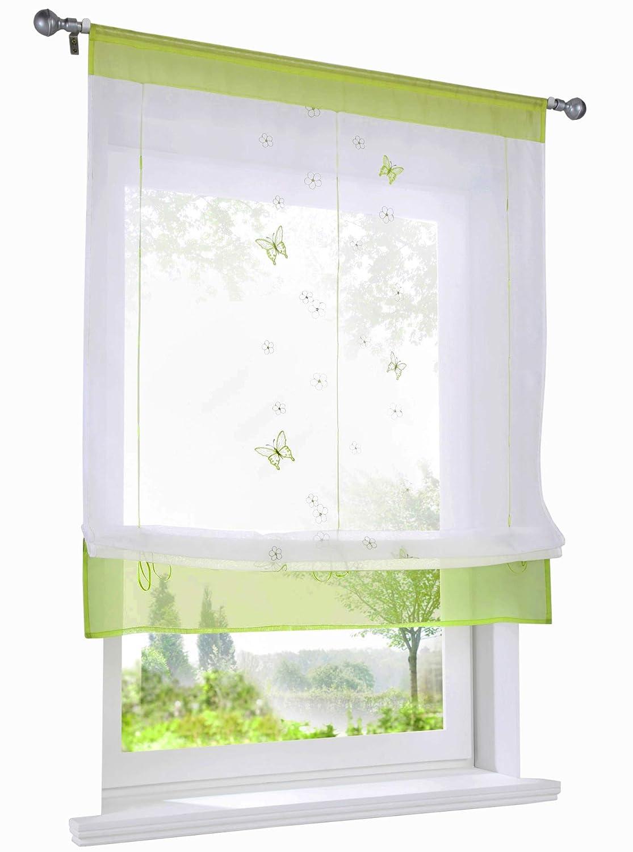 BAILEY JO 1Pc Store Romain Photique Passe Tringle avec Broderie Papillons et Fleurs Décoration de Fenêtre Chambre/Salle de Bain/Balcon (LxH/60x120cm, Violet)