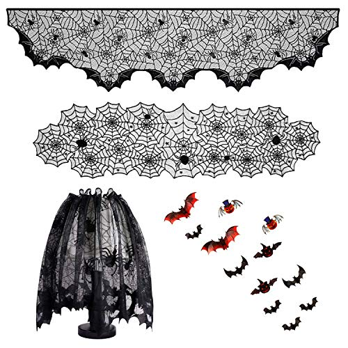 4 in 1 Halloween Decorations Set Home Party Decor Haunted House Props, Spider Web Table Runner, Lace Fireplace Mantel Scarf Cover, Lace Lampshade Cover, 12 Pieces 3D Bats Wall Sticker Decal (3d Porch)