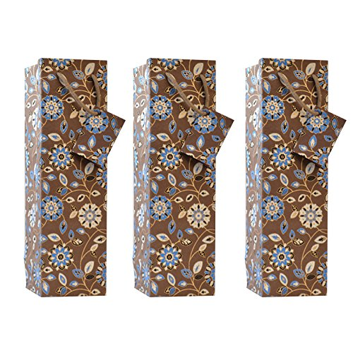 (C.W. Collections Handcrafted Artisan Wine Bottle Gift Bag (3 Pack), Floral Medallions, Brown/Blue)