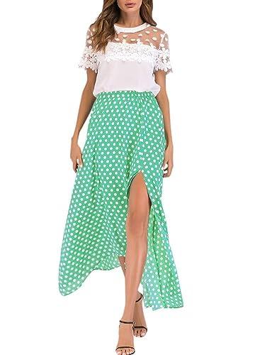 4c6a52231 Buy Segolike Vintage Women High Waist Polka Dot Maxi Dress Side Slit  Asymmetric Hem Summer Retro Long Skirt Online at Low Prices in India |  Amazon Jewellery ...