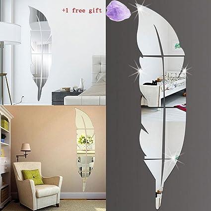 Autocollant Mural 3D, Plumes Miroir Vinyl Wall Sticker,Autocollant Mural  Chambre Enfant,Autocollant Murale Salon,Stickers Muraux Bebe Fille ...
