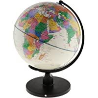 Dolity 25cm/20cm Swivel Stand World Map Globe for Desktop Decoration Geography Education - White, 25cm