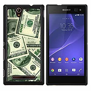 EJOOY---Cubierta de la caja de protección para la piel dura ** Sony Xperia C3 ** --Dinero Cien Dólares Riqueza Sichness