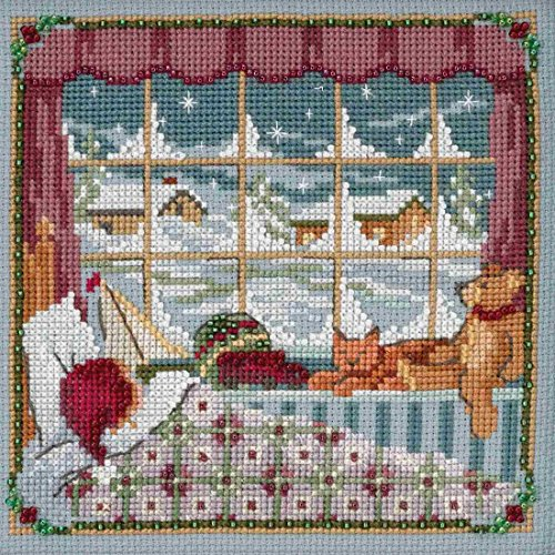 Children were Nestled Beaded Counted Cross Stitch Kit Mill H