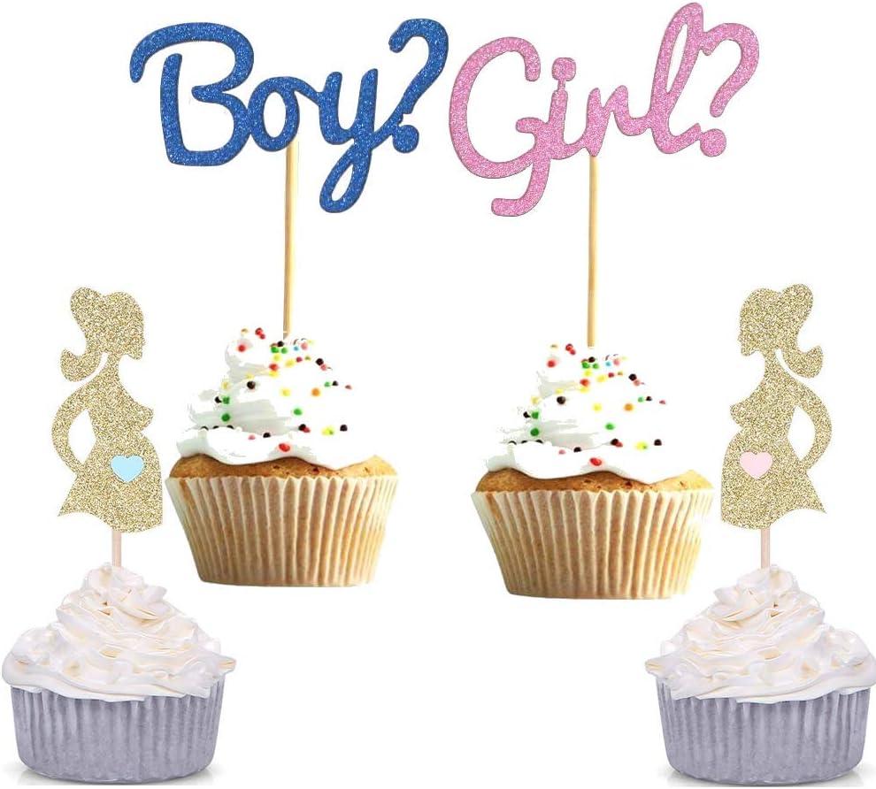 16 Pcs Cupcake Topper Baby Shower Boy Girl Decor Gender Reveal Blue Pink Glitter