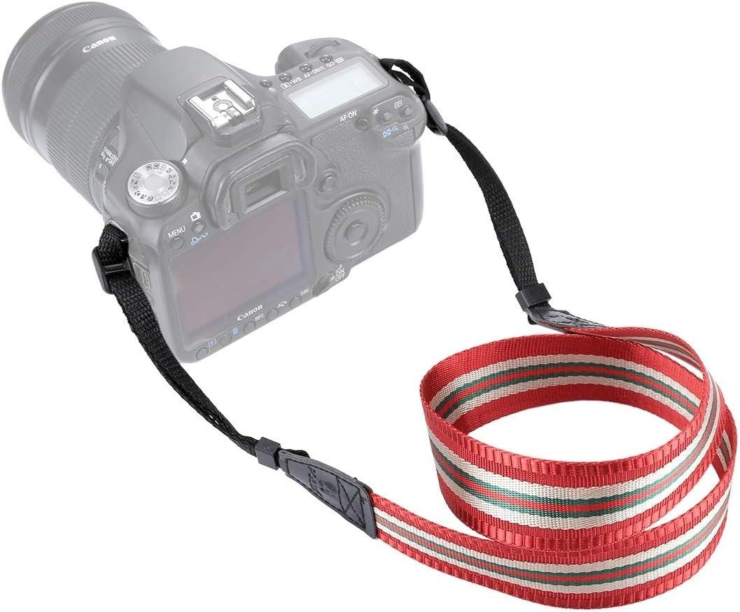 Dingy Red Color : Dark Red XulilinQ Camera Belt Stripe Style Series Shoulder Neck Strap Camera Strap for SLR//DSLR Cameras