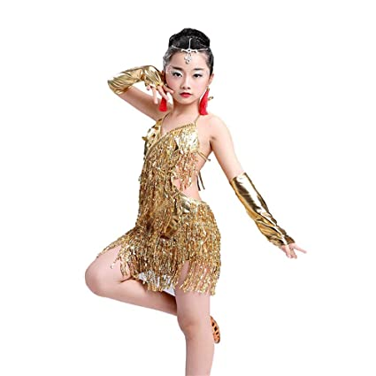 9166500f5d03 Dance dress Sequins Tassel Girl's Dress Skirt Contemporary Latin Stage  Dance Costume Gymnastic leotard (Color : Gold, Size : 150): Amazon.co.uk:  Kitchen & ...