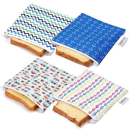 Reusable Snack Bags Sandwich bags Dishwasher Safe 4 Pack BPA-free by DIWEIYA