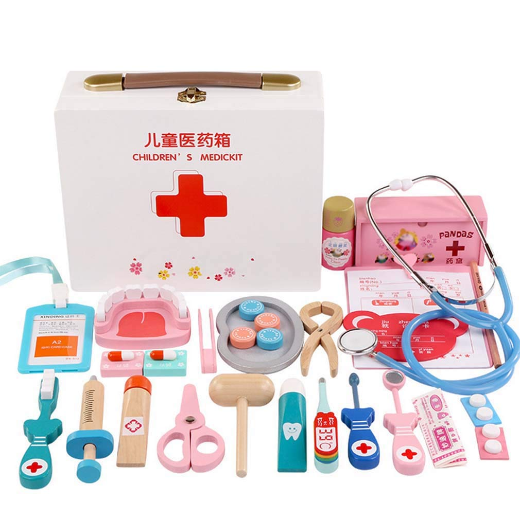 QIDUll Wooden Doctor's Set Toy,Kids Doctor Kit Wooden Medical Kit Pretend Play Doctors Set for Girls and Boys