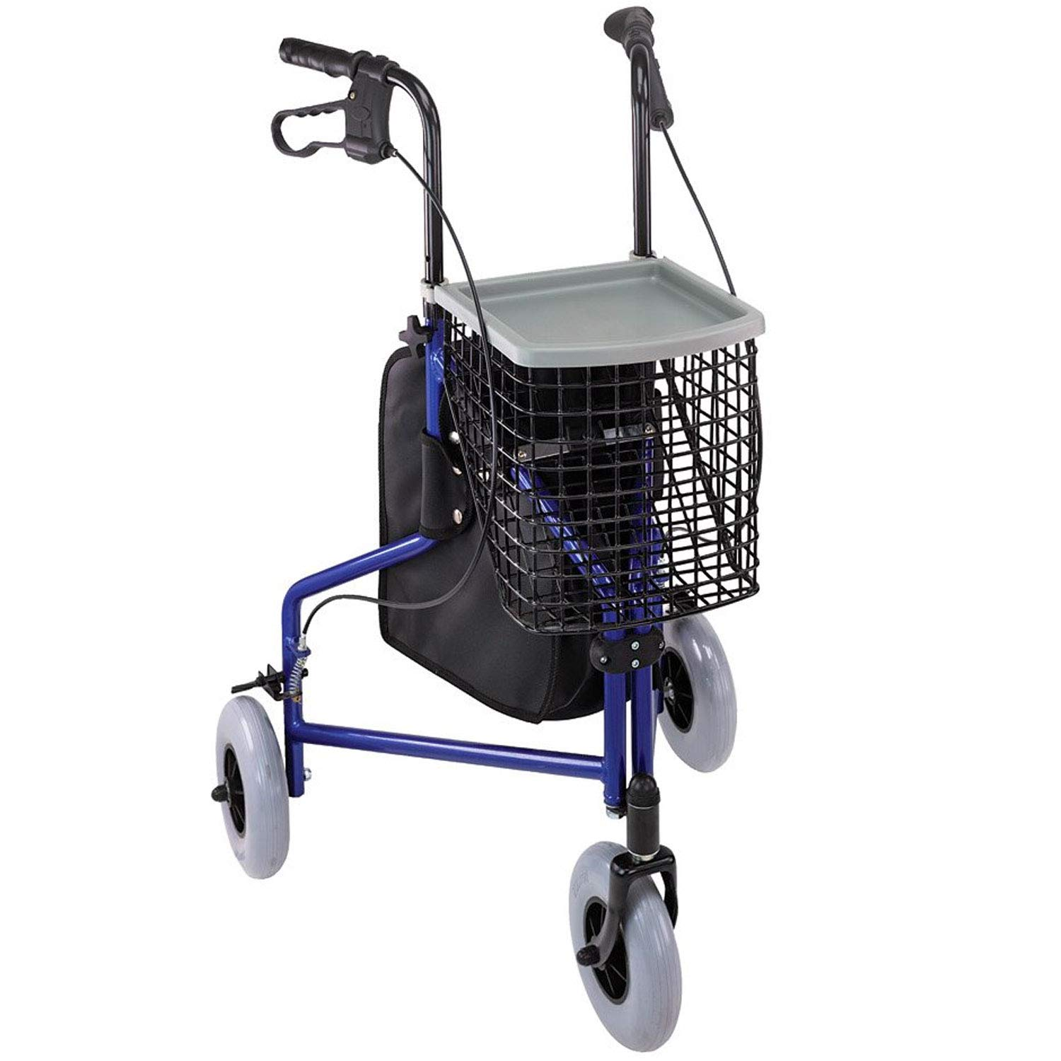 Duro-Med Folding Rollator Walker with Swiveling Front Wheels, 3 Wheel, Aluminum Light-Weight, Detachable Storage Tray, Royal Blue by Duro-Med