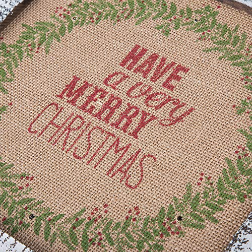 Sunnyglade Wood Holiday Wall Hanging Décor Door Hanging Decorations with Led Lights Wood Plaques Signs Christmas Ornament for Home, School, Office (Tan)