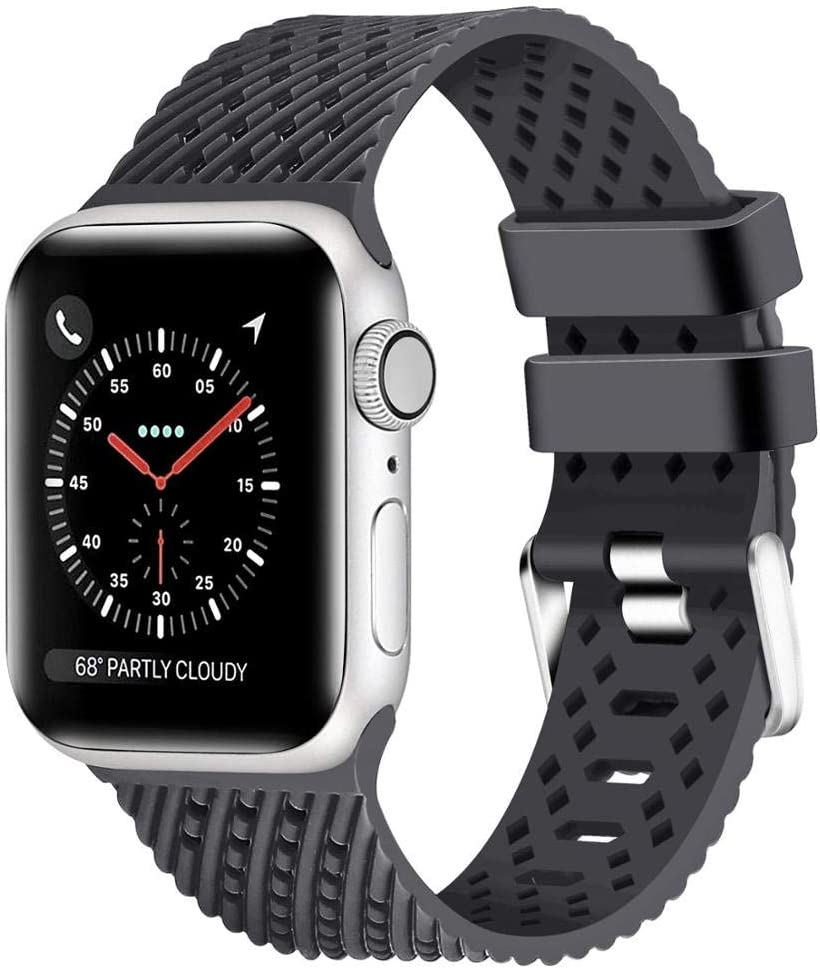 Compatible for Apple Watch 38mm 40mm 42mm 44mm Band with 3D Air Holes Soft Silicone Breathable Wristband Replacemetn Strap for iWatch Series 5 Series 4 Series 3/2/1