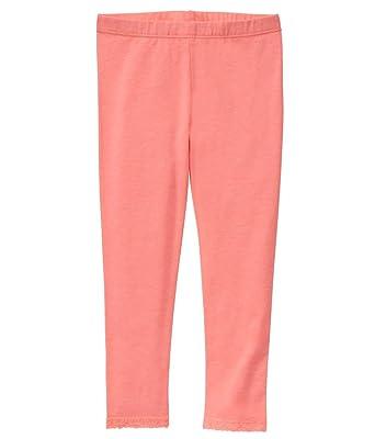 4e616ac2ee3d6 Crazy 8 Baby Girls' Toddler Lace Trim Legging, Neon Orange Glow, 18-