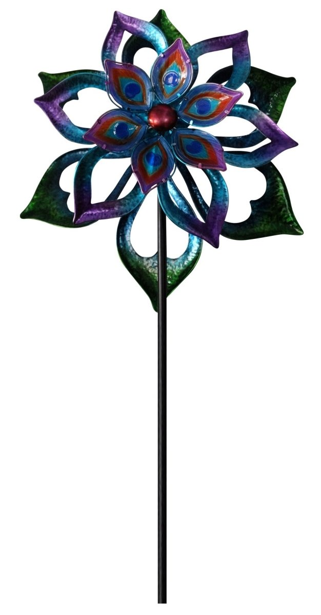 Double-Sided Flower Spinning Garden Stake