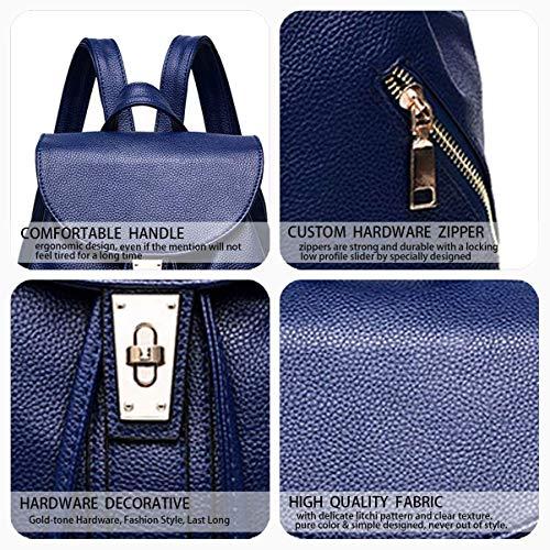 Cuero Negro Mochila Azul Para Bolsos color Pu Bolsa De Escolar Eeayyygch Mujer Hombro Laptop qz7xzAn