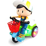 Zest 4 Toyz Stunt Tricycle Bump and Go Toy with 4D Lights, Dancing Toy, Battery Operated Toy