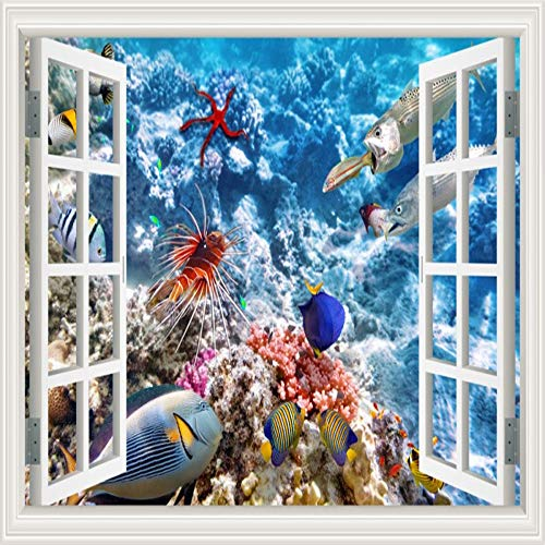 (3D Wall Stickers Removable Underwater Shark Fish Wall Decal 3D Window View Wallpaper Living Room Wall Art Decal)