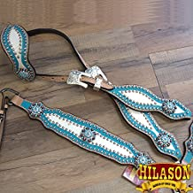 HILASON LEATHER HORSE HEADSTALL BREAST COLLAR HAND PAINT WHITE TURQUOISE CONCHO