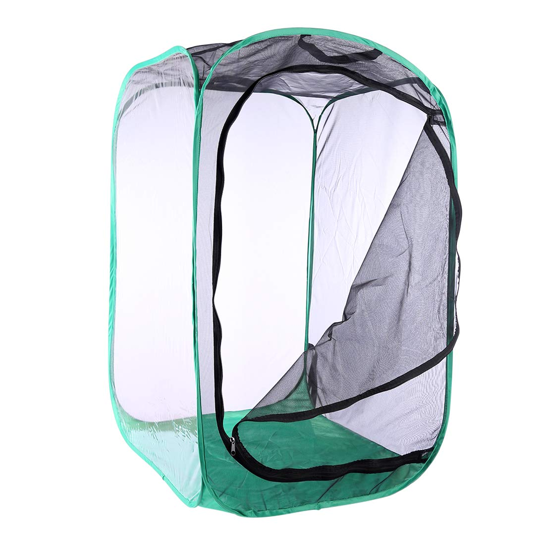 Yamix Insect and Butterfly Habitat Cage Terrarium Butterfly House Collapsible Pop-up 35.4'' Tall (Black + Green)