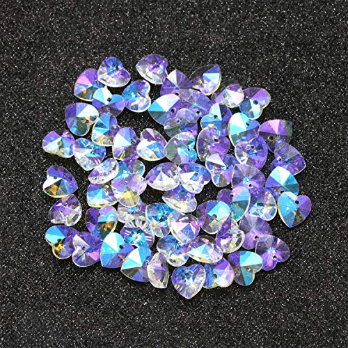 Monrocco 60 Pack 14MM AB Color Faceted Glass Heart Beads Glass Iridescent Beads Charm for Jewelry Making